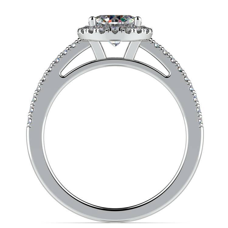 Floating Halo Diamond Engagement Ring in Platinum   02