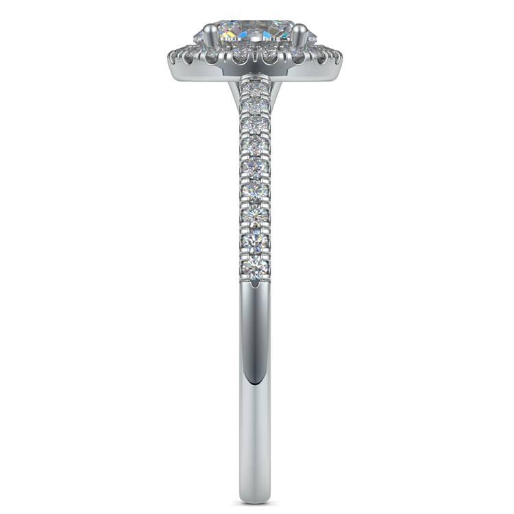 Floating Halo Diamond Engagement Ring in Platinum   03