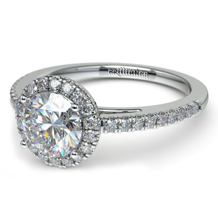 Floating Halo Diamond Engagement Ring in Platinum   04