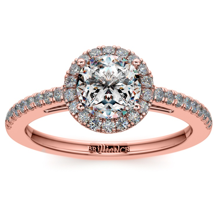 Floating Halo Diamond Engagement Ring In Rose Gold | 01