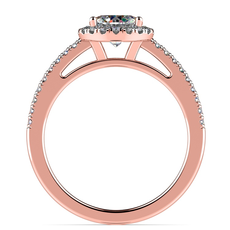 Floating Halo Diamond Engagement Ring In Rose Gold | 02