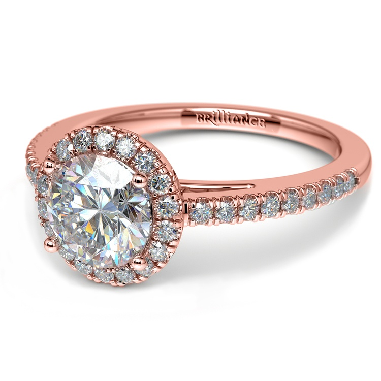 Floating Halo Diamond Engagement Ring In Rose Gold | 04