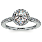 Floating Halo Diamond Engagement Ring in White Gold | Thumbnail 01
