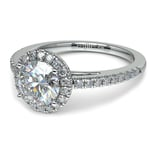 Floating Halo Diamond Engagement Ring in White Gold | Thumbnail 04
