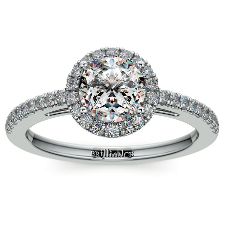 Floating Halo Diamond Engagement Ring in White Gold | 01