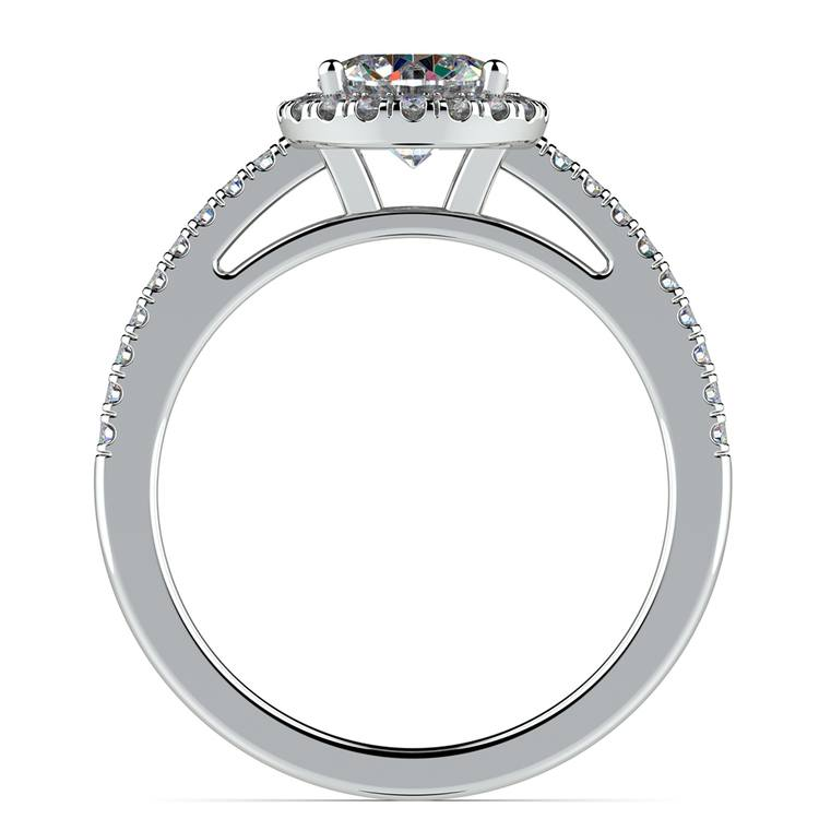Floating Halo Diamond Engagement Ring in White Gold | 02