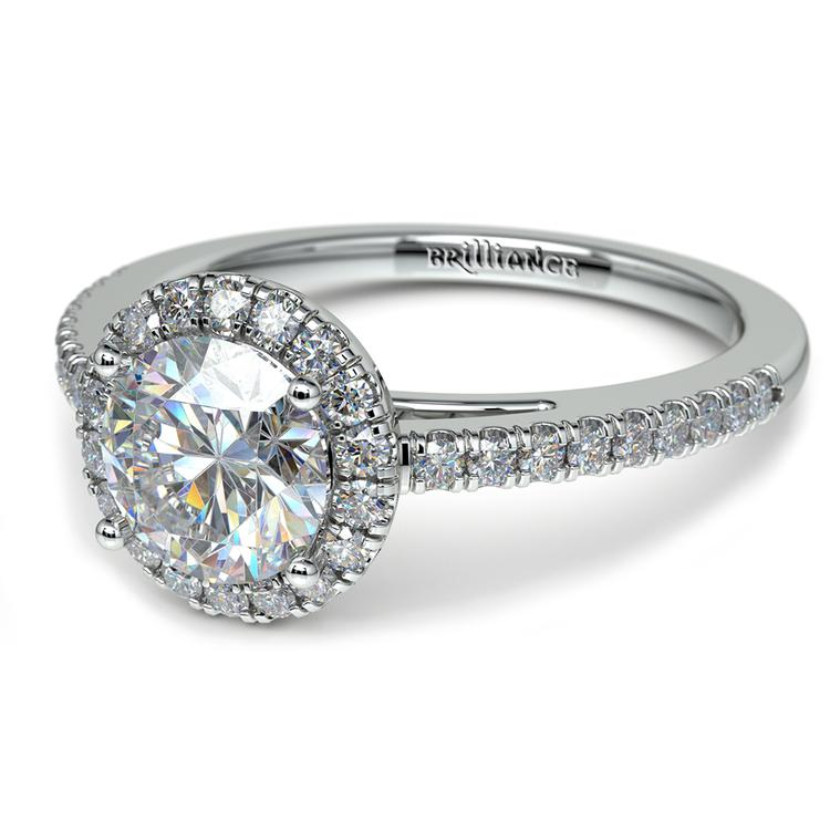Floating Halo Diamond Engagement Ring in White Gold | 04