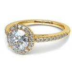Floating Halo Diamond Engagement Ring in Yellow Gold | Thumbnail 04
