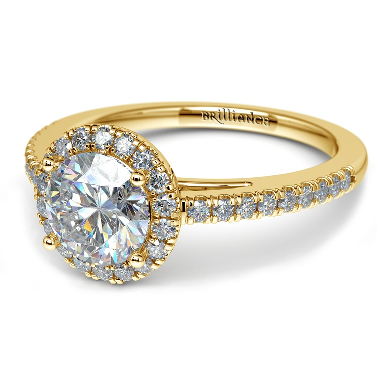 Floating Halo Diamond Engagement Ring in Yellow Gold | 04