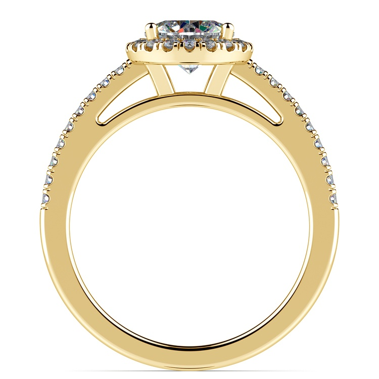 Floating Halo Diamond Engagement Ring in Yellow Gold | 02