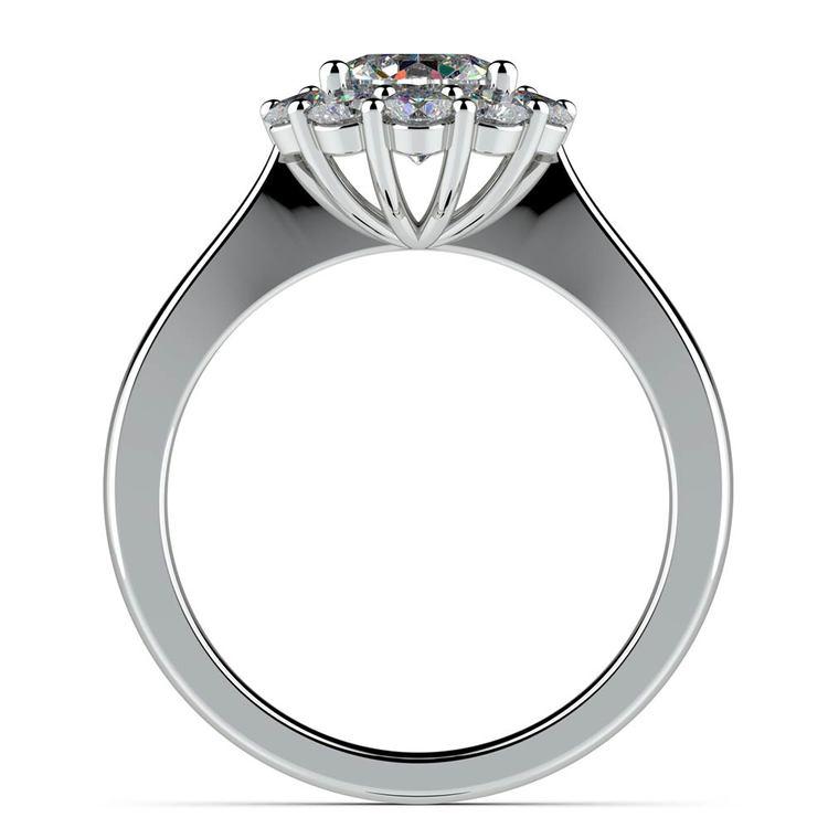 Floral Halo Diamond Engagement Ring in Platinum | 02