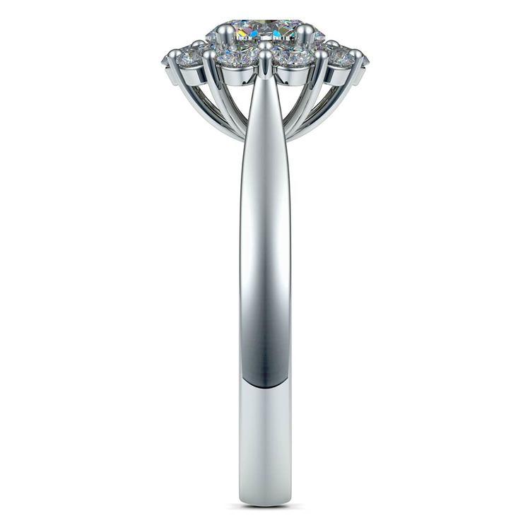 Floral Halo Diamond Engagement Ring in Platinum | 03