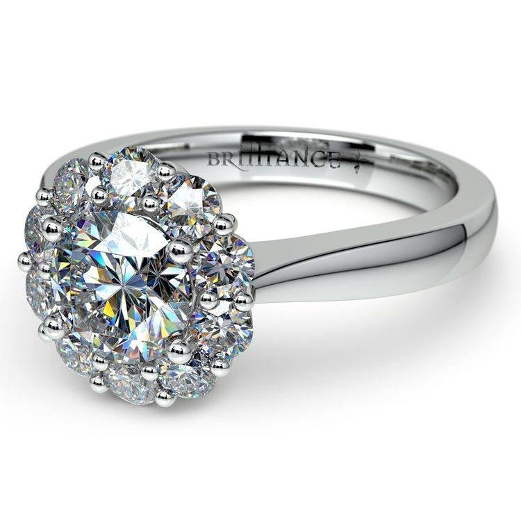 Floral Halo Diamond Engagement Ring in Platinum | 04
