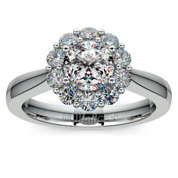 Floral Halo Diamond Engagement Ring in Platinum | 01