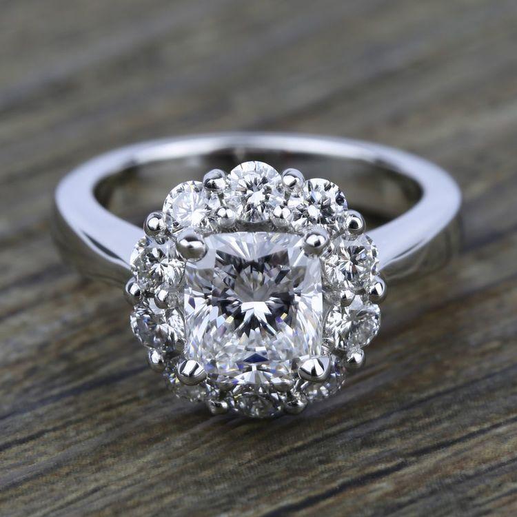 Floral Halo Diamond Engagement Ring in Platinum | 05
