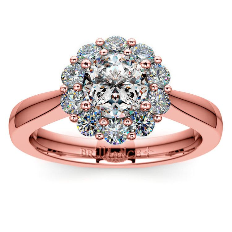 Floral Halo Diamond Engagement Ring in Rose Gold | 01