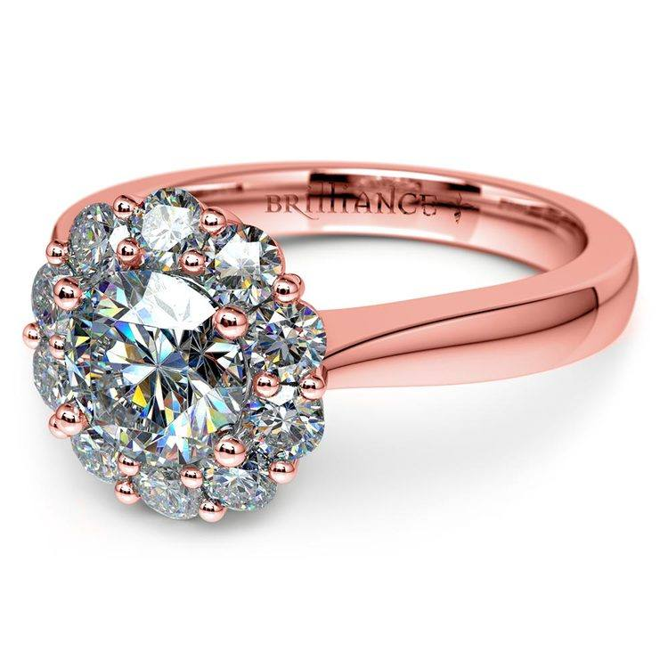 Floral Halo Diamond Engagement Ring in Rose Gold | 04