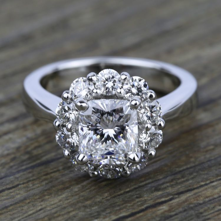 Floral Halo Diamond Engagement Ring in White Gold | 05