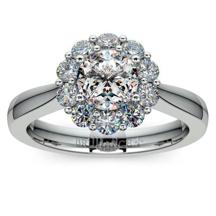 Floral Halo Diamond Engagement Ring in White Gold | 01