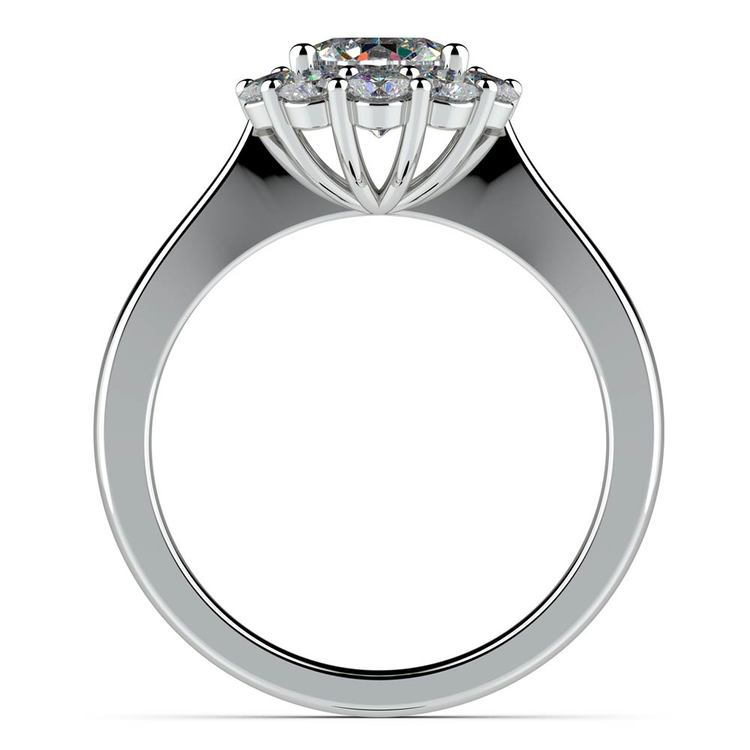 Floral Halo Diamond Engagement Ring in White Gold | 02