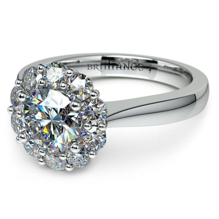 Floral Halo Diamond Engagement Ring in White Gold | 04