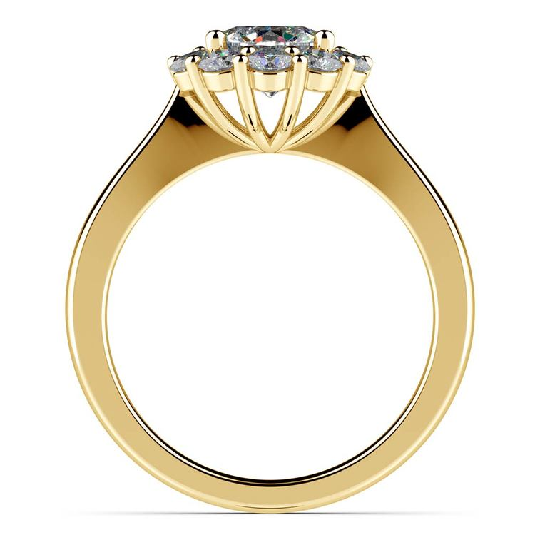 Floral Halo Diamond Engagement Ring in Yellow Gold | 02