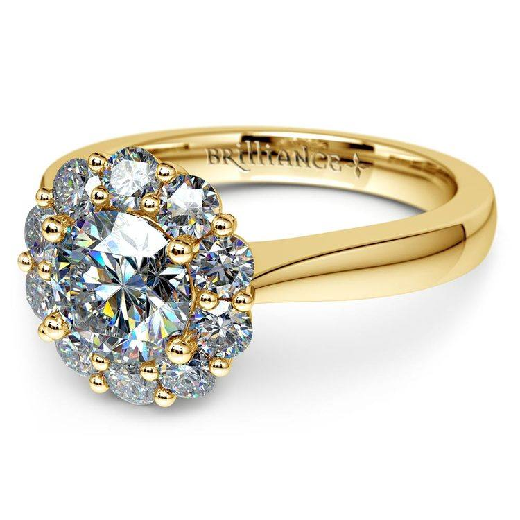 Floral Halo Diamond Engagement Ring in Yellow Gold | 04