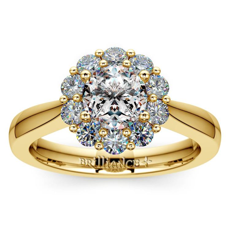 Floral Halo Diamond Engagement Ring in Yellow Gold | 01