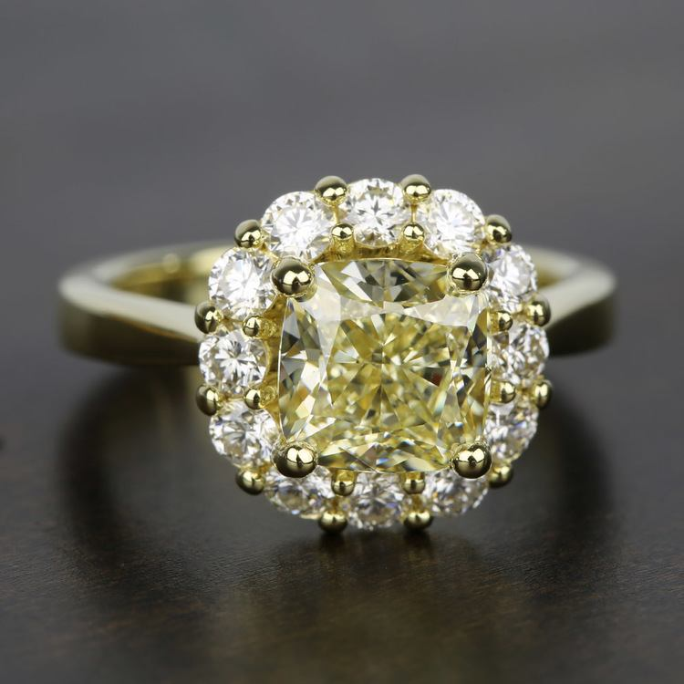 Floral Halo Diamond Engagement Ring in Yellow Gold | 05