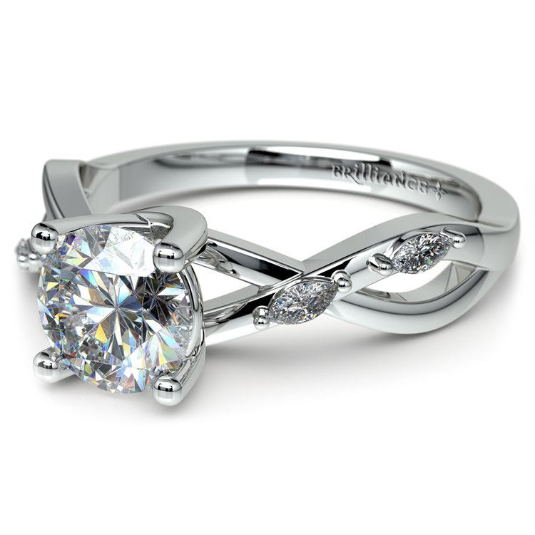 Florida Ivy Diamond Engagement Ring in White Gold
