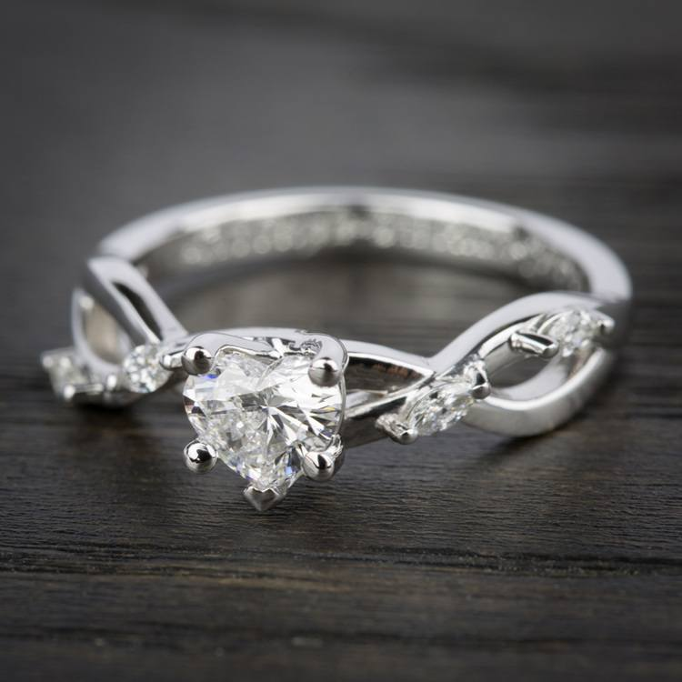 Florida Ivy Diamond Engagement Ring in White Gold | 05