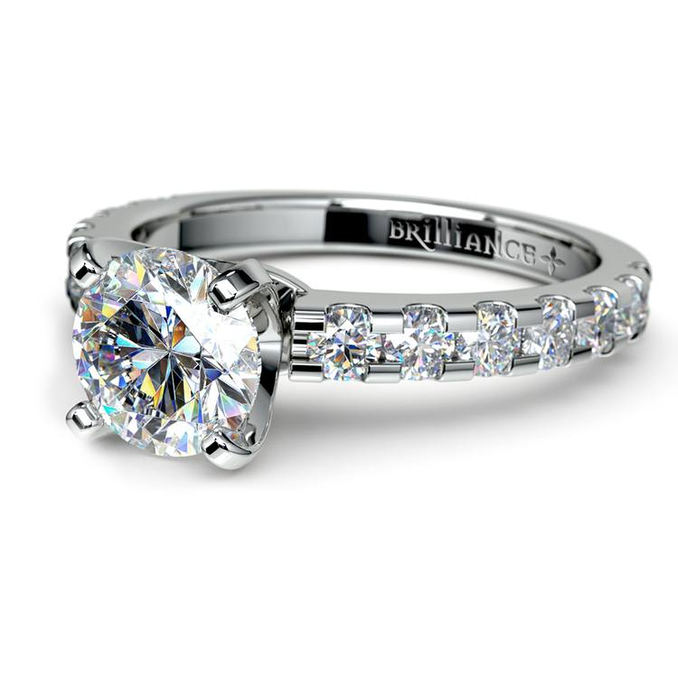 Four-Prong Scallop Diamond Engagement Ring in Platinum | 04