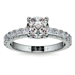 Four-Prong Scallop Diamond Engagement Ring in White Gold | Thumbnail 01
