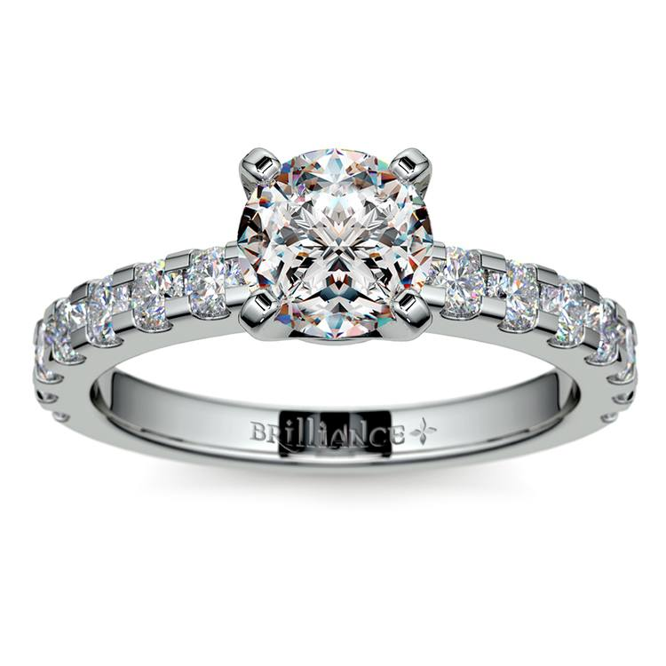 Four-Prong Scallop Diamond Engagement Ring in White Gold | 01