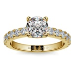 Four-Prong Scallop Diamond Engagement Ring in Yellow Gold | Thumbnail 01