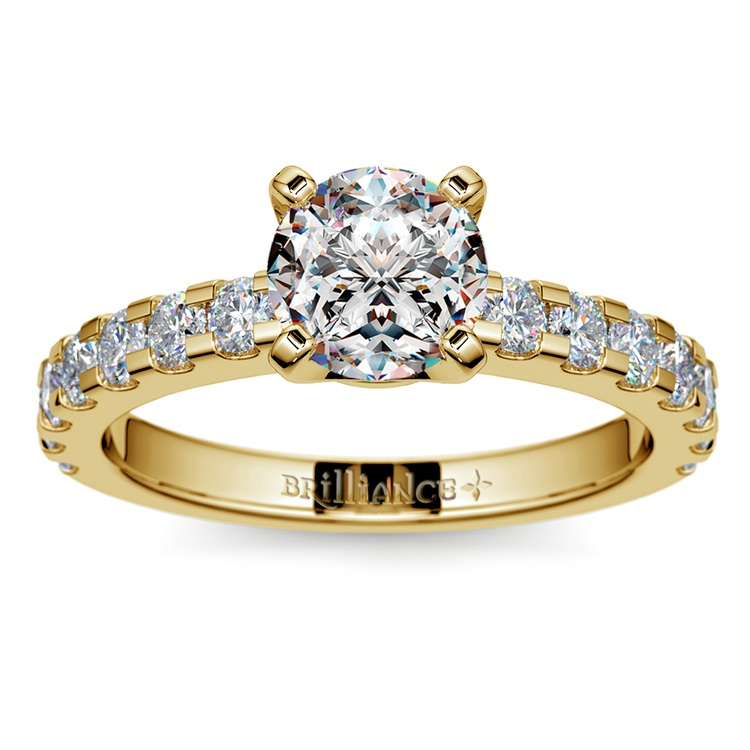 Four-Prong Scallop Diamond Engagement Ring in Yellow Gold | 01