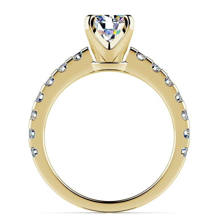 Four-Prong Scallop Diamond Engagement Ring in Yellow Gold | 02
