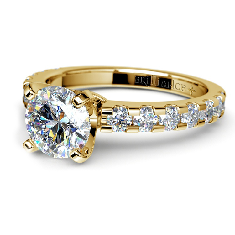 Four-Prong Scallop Diamond Engagement Ring in Yellow Gold | 04
