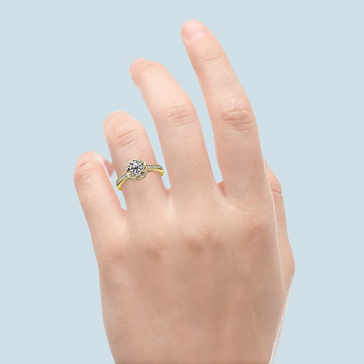 Gold Twisted Vine Halo Engagement Ring | 05