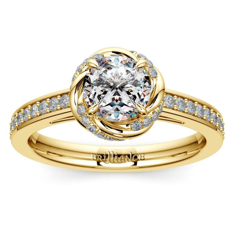 Gold Twisted Vine Halo Engagement Ring | 01