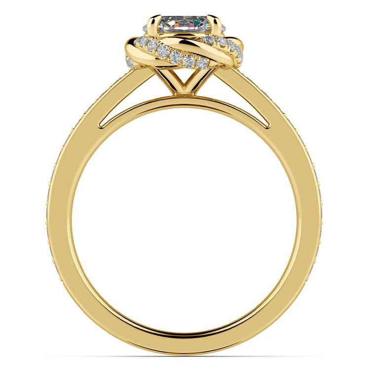 Gold Twisted Vine Halo Engagement Ring | 02