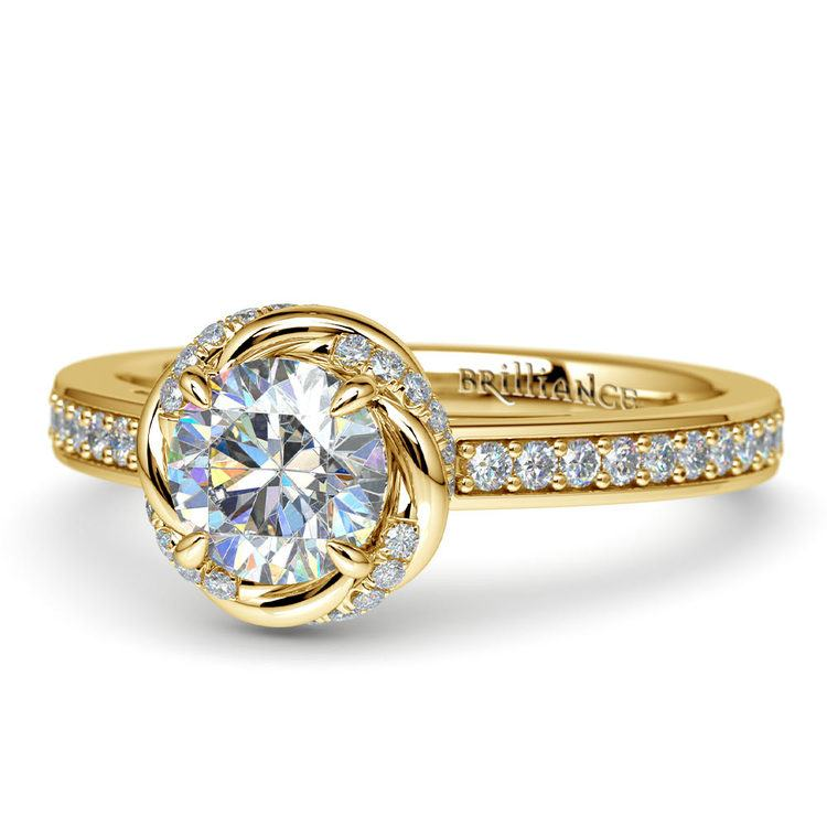 Gold Twisted Vine Halo Engagement Ring | 04