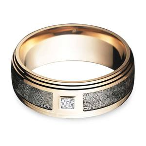 Grooved Edge Rose Gold Men's Diamond Engagement Ring