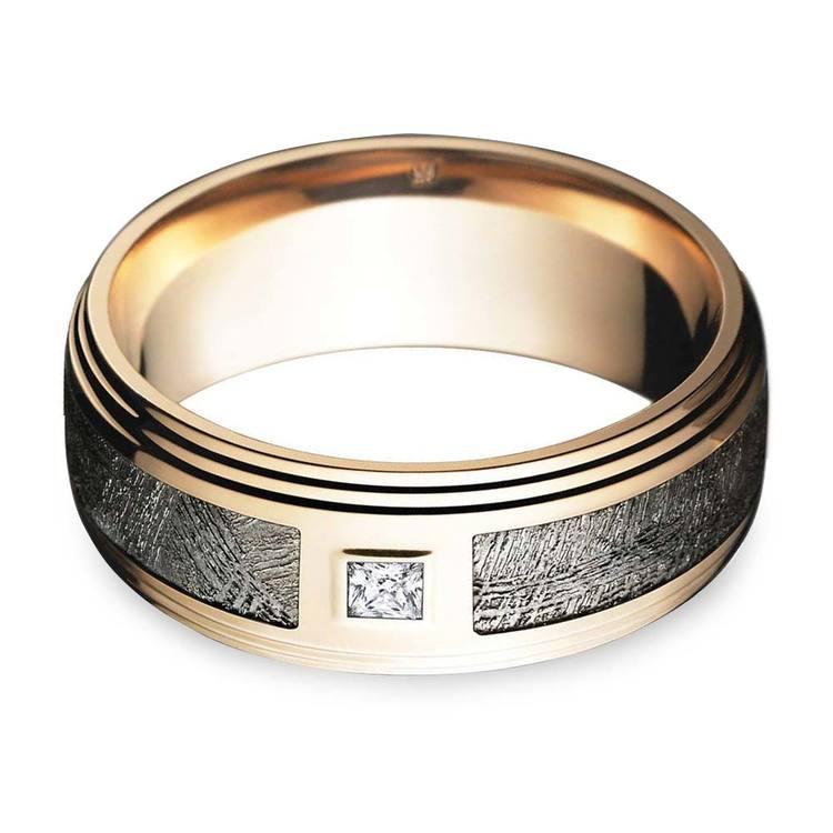 Grooved Edge Rose Gold Men's Diamond Engagement Ring   01