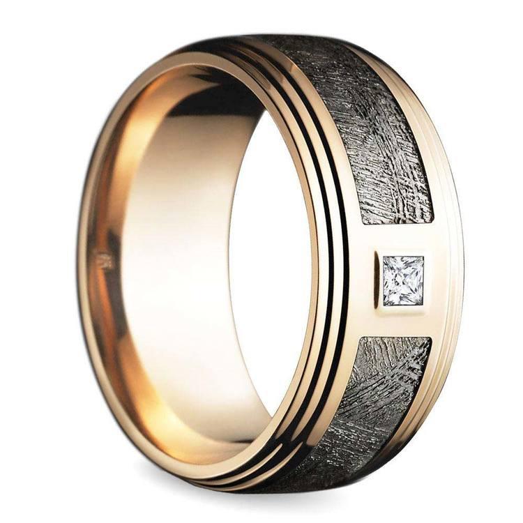 Grooved Edge Rose Gold Men's Diamond Engagement Ring   02