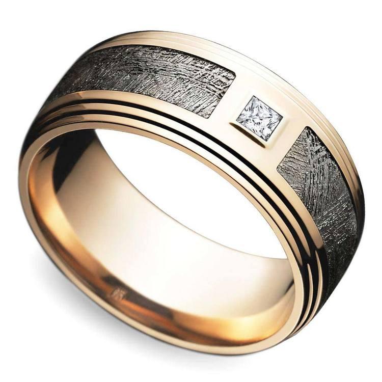 Grooved Edge Rose Gold Men's Diamond Engagement Ring   03