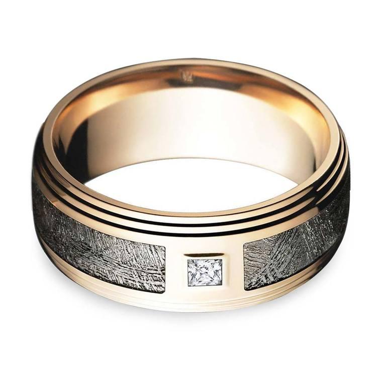 Grooved Edge Rose Gold Men's Diamond Engagement Ring   04