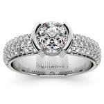 Half Bezel Diamond Engagement Ring in Platinum (3/8 ctw)  | Thumbnail 01