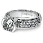 Half Bezel Diamond Engagement Ring in Platinum (3/8 ctw)  | Thumbnail 04