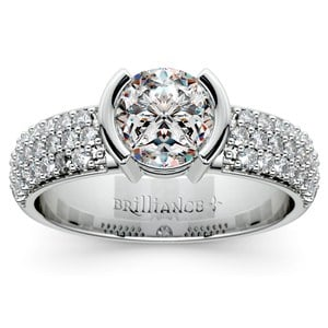 Half Bezel Diamond Engagement Ring in Platinum (3/8 ctw)
